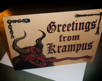 Evil Christmas Greetings From Krampus  Greeting Card Horror Show 5x7 Blank inside by Agorables Freakmas 4 the Season