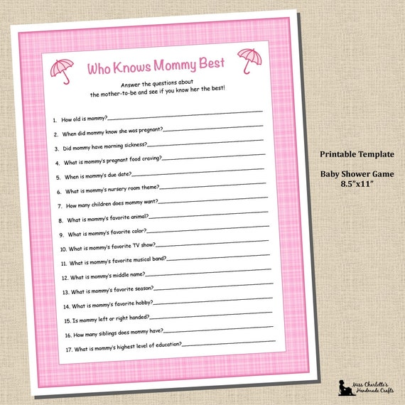 Baby Girl Shower Shower Who Knows Mommy Best Game 8.5x11