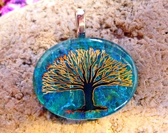 Black with Gold Tree on Blue Wavy Fused Dichroic Art Glass Jewelry Pendant