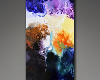 Original abstract painting, abstract contemporary art, 36x18 inches, Migration, by Sally Trace, vertical fluid painting, organic painting