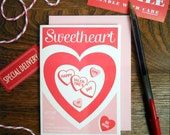 letterpress sweetheart happy valentine's day greeting card sweetheart candies cutie be mine
