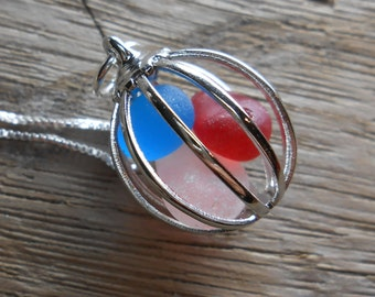 Faux and Real Sea Glass Necklace, Cage Jewelry, BORN In THE USA