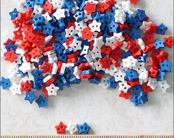 100 pcs Tiny Star Flat Buttons Mixed Color For Blythe / Doll / Scrapbooking Supply