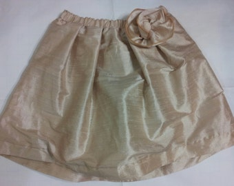 Girls Skirt, Girls Silk Skirt, Girls Dressy Silk Skirt,
