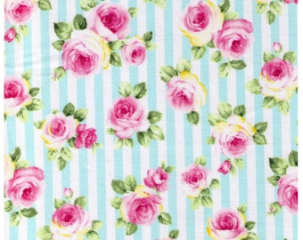 HALF YARD - Roses on Blue and White Stripes - Lolita, Flowers, Leaves, Kawaii  - Cosmo Textiles Japanese Import