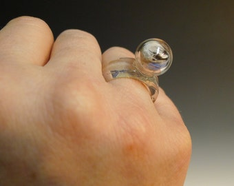 One Blown Bubble with Feather Glass Ring Hand Sculpted by Jenn Goodale