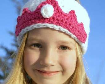 PATTERN PDF - Crochet  Earwarmer - Princess Crown Toddler, Child, Preteen to Adult sizes included
