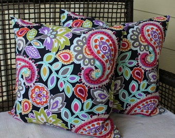 Pair 20 Inch Pillow Covers - Fun Bright Paisley Print on Black - Very Colorful - Decorator Pillows  - MultiColor
