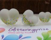 Lampwork Glass Beads Rainbow Blossom Heart per bead