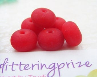 Lampwork Glass Spacer Beads Cherry Red