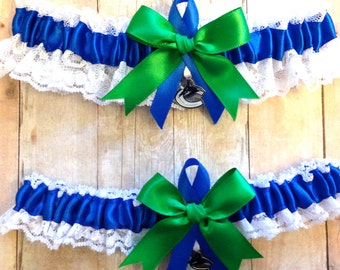 Vancouver Canucks Wedding Garter Set with charms   Lace  Handmade   keepsake and toss RERG