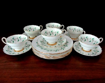 Crown Fine Bone China Six Place Luncheon or Dessert Set. Eighteen Pieces.