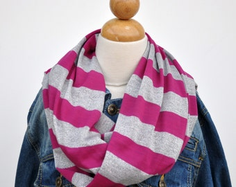 Hot Pink and Silver Infinity Scarf, Metallic Glitter Scarf, Circle Scarf, Jersey Knit Infinity Scarf , Striped Infinity Scarf