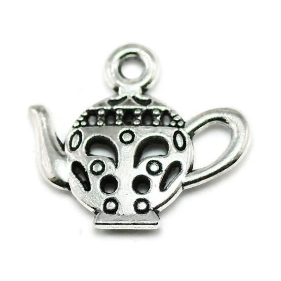 10 teapot charms silver tone metal tea pot s446