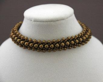 Bronze Swarovski Pearls and chocolate Delica Flat Spiral Bracelet