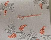 Congratulations Berries letterpress card