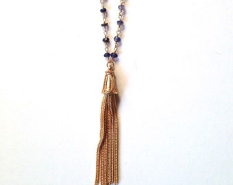 Iolite gemstone gold tassel long layering necklace