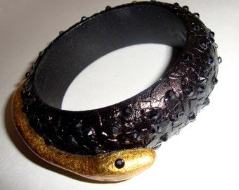 Snake  Black Gold Gothic Steampunk Glamour Wooden Bangle Bracelet With Swarovski Crystals