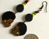 Wooden Afro Profile Earrings with Beads