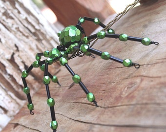 Use COUPON CODE THKS25 for 25 percent off TODAY Beaded Spider - Hair Bobby Pin, Lapel Pin, Pendant or  Halloween Decoration, Metallic Green