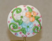 Lampwork Focal Bead Spring Beauty Handmade Glass Floral with Peach and Aqua Flowers Green Vines Pink Blossoms sra