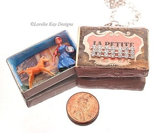 Matchbox French Country Side La Petite Match Box Necklace Tiny French Diorma Pendant or Ornament  Lorelie Kay Designs Original