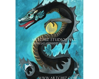 Black Water Dragon. Chinese Zodiac. Year of The Dragon. Art Print.  Chinese New Year. Wall Art.  Birth Year.  Dragon Art.