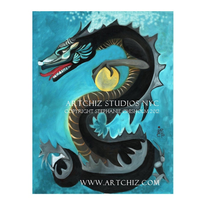 Black Water Dragon. Chinese Zodiac. Year of The Dragon. Art