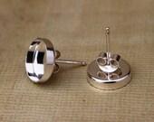 Sterling Silver Round Bezel Earring Findings - 10 mm