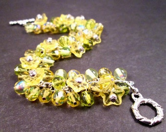 Flower Charm Bracelet, Lemongrass Bouquet, Yellow Green and Silver Beaded Bracelet, FREE Shipping U.S.
