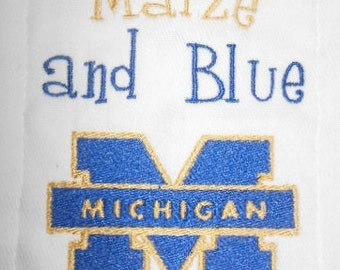 University of Michigan inspired I drool Maize and Blue   burp cloth