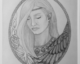 Freyja's Sorrow black and white print