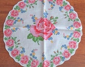 Lovely Round Vintage Handkerchief - Bright Pink Roses