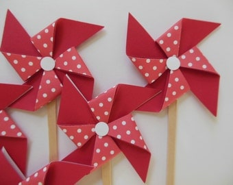 Pinwheel Cupcake Toppers - Red and White Polka Dots - Birthday Party Decorations - Set of 6