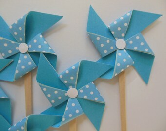 Pinwheel Cupcake Toppers - Blue and White Polka Dots - Birthday Party Decorations - Set of 6