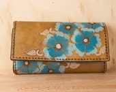 Oversize Wallet - Large Wallet - Checkbook Wallet - Womens Wallet - Belle Pattern with wild roses in turquoise, silver and antique brown