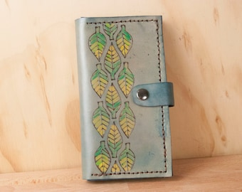 iPhone 6 plus Wallet Case Leather - Adam pattern - Blue leather with leaves - Handmade for iPhone 5, 6, 6+, SE, 7 or 7+
