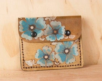 Small Wallet - Wallet - Card Wallet - Mini Wallet - Flower Wallet - Womens Wallet - Belle pattern in turquoise silver antique brown - Roses