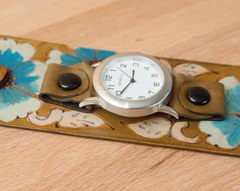 Cuff Watch - Leather Cuff Watch - Wide - Flowers - Wild Roses in Belle pattern in turquoise, silver and antique brown - Womens Cuff Watch
