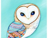 Barn Owl - Nature Watercolor painting - FREE SHIPPING