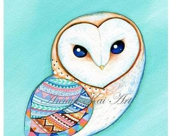 Barn Owl - watercolor painting owl PRINT owl Painting of owl print watercolor owl painting Large owl nursery art nursery decor mint blue