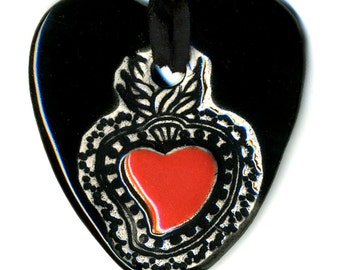 Sacred Heart Ceramic Necklace in Black
