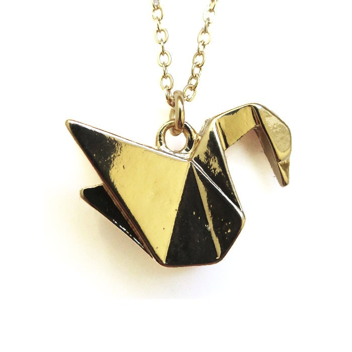 sadako origami crane necklace gold plated charm necklace