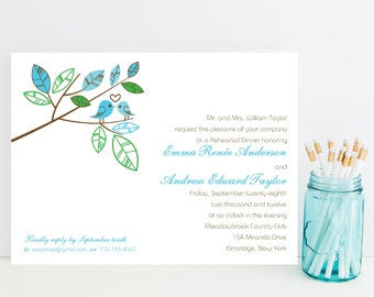 10 Lovebird Rehearsal Dinner Invitations - Sweet, Cute Rehersal Invitation