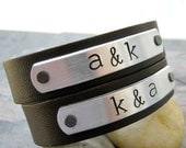 Couples Initial Bracelets, set of 2 leather cuffs, choose your leather color, couples jewelry, matching set, his and hers, lgbt friendly