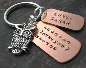 Personalized Owl Keychain, Whooo Loves You, Hand Stamped, great gift for family and friends, Best Seller