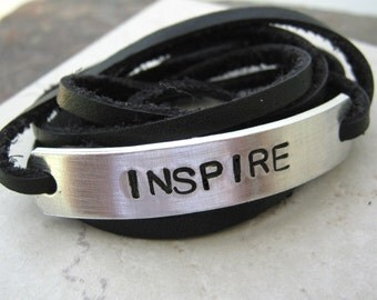 Inspire Bracelet, choose leather and ink color, text, symbols, and font, see charts for choices, makes a great gift, inspiration, motivation
