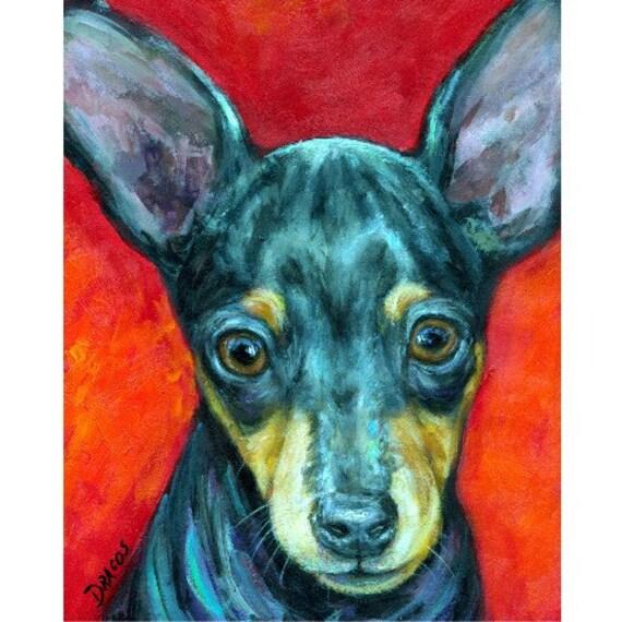 Miniature Pinscher Dog Minpin Original Painting Dog Art