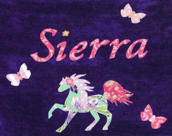 Personalized Large Purple Velour Beach Towel with a Beautiful Horse and Butterflies, Pool Towel, Personalized Kids Bath Towel, Baby Gift