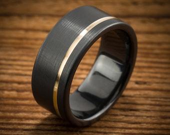 Men's Wedding Band Comfort Fit Interior Black Zirconium Yellow Gold Stripe Ring